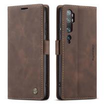 CaseMe - Xiaomi Mi Note 10 (Pro) hoesje - Wallet Book Case - Magneetsluiting - Donker Bruin