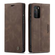 CaseMe - Huawei P40 Pro hoesje - Wallet Book Case - Magneetsluiting - Donker Bruin