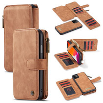 CaseMe - iPhone 11 hoesje - Wallet Book Case met Ritssluiting - Bruin