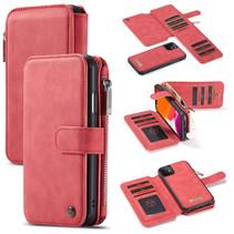 CaseMe - iPhone 11 hoesje - Wallet Book Case met Ritssluiting - Rood