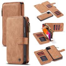 CaseMe - iPhone 11 Pro hoesje - Wallet Book Case met Ritssluiting - Bruin