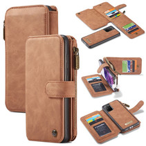 CaseMe - Samsung Galaxy S20 Plus hoesje - Wallet Book Case met Ritssluiting - Bruin