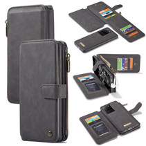 CaseMe - Samsung Galaxy S20 Ultra hoesje - Wallet Book Case met Ritssluiting - Zwart