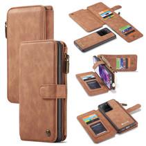CaseMe - Samsung Galaxy S20 Ultra hoesje - Wallet Book Case met Ritssluiting - Bruin
