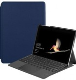Case2go Microsoft Surface Go 2 hoes - Tri-Fold Book Case - Donker Blauw