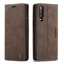 CaseMe - Huawei P30 hoesje - Wallet Book Case - Magneetsluiting - Donker Bruin