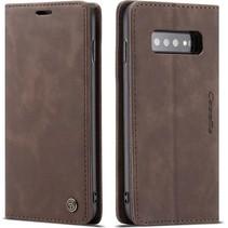CaseMe - Samsung Galaxy S10 Plus hoesje - Wallet Book Case - Magneetsluiting - Donker Bruin