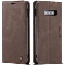 CaseMe - Samsung Galaxy S10e hoesje - Wallet Book Case - Magneetsluiting - Donker Bruin