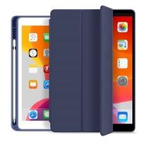 iPad 10.2 2019 / 2020 / 2021 hoes - Tri-Fold Book Case - Smart Folio cover met Pencil houder - Blauw