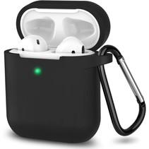 Apple Airpods hoesje - Siliconen beschermhoes met opdruk - 3.0 mm - Zwart