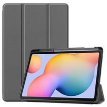 Samsung Galaxy Tab S6 Lite hoes - Tri-Fold Book Case met Stylus Pen houder - Grijs