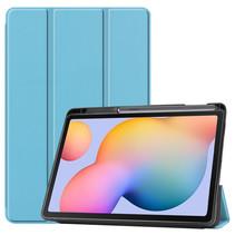 Samsung Galaxy Tab S6 Lite hoes - Tri-Fold Book Case met Stylus Pen houder - Licht Blauw