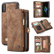 CaseMe - iPhone X/Xs hoesje - 2 in 1 Wallet Book Case - Bruin