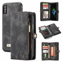 CaseMe - iPhone Xs Max hoesje - 2 in 1 Wallet Book Case - Zwart