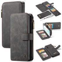 CaseMe - Samsung Galaxy Note 10 hoesje - Wallet Book Case met Ritssluiting - Zwart