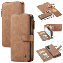 CaseMe - Samsung Galaxy Note 10 hoesje - Wallet Book Case met Ritssluiting - Bruin