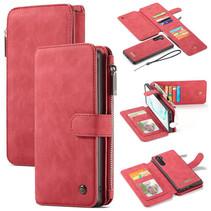 CaseMe - Samsung Galaxy Note 10 hoesje - Wallet Book Case met Ritssluiting - Rood