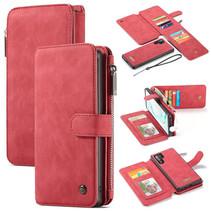 CaseMe - Samsung Galaxy Note 10 Plus hoesje - Wallet Book Case met Ritssluiting - Rood