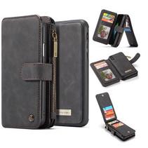 CaseMe - iPhone X/Xs hoesje - Wallet Book Case met Ritssluiting - Zwart