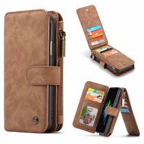 CaseMe - iPhone XR hoesje - Wallet Book Case met Ritssluiting - Bruin