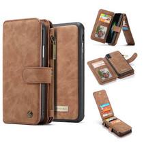 CaseMe - iPhone XS Max hoesje - Wallet Book Case met Ritssluiting - Bruin
