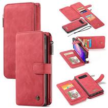 CaseMe - Samsung Galaxy S10 hoesje - Wallet Book Case met Ritssluiting - Rood