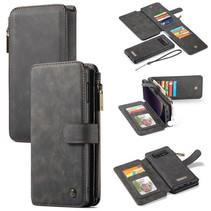 CaseMe - Samsung Galaxy S10e hoesje - Wallet Book Case met Ritssluiting - Zwart