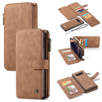 CaseMe - Samsung Galaxy S10e hoesje - Wallet Book Case met Ritssluiting - Bruin