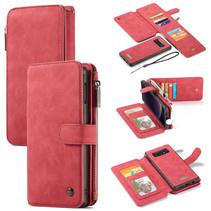 CaseMe - Samsung Galaxy S10e hoesje - Wallet Book Case met Ritssluiting - Rood