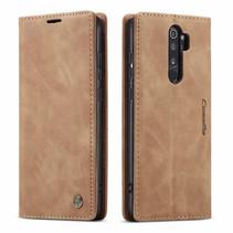 CaseMe - Xiaomi Redmi Note 8 Pro hoesje - Wallet Book Case - Magneetsluiting - Licht Bruin
