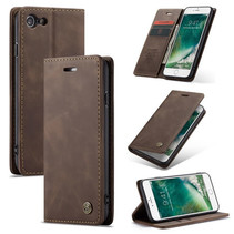 CaseMe - iPhone 7/8/SE 2020 hoesje - Wallet Book Case - Magneetsluiting - Donker Bruin