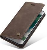 CaseMe CaseMe - iPhone 7/8/SE 2020 hoesje - Wallet Book Case - Magneetsluiting - Donker Bruin