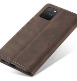 CaseMe CaseMe - Samsung Galaxy S10 Lite hoesje - Wallet Book Case - Magneetsluiting - Donker Bruin