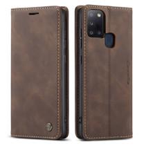 CaseMe - Samsung Galaxy A21s hoesje - Wallet Book Case - Magneetsluiting - Donker Bruin