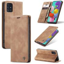 CaseMe - Samsung Galaxy A51 hoesje - Wallet Book Case met Ritssluiting - Bruin