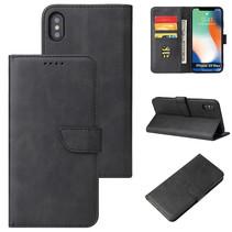 Case2go - Hoesje geschikt voor iPhone Xs Max - Wallet Book Case -  Ruimte voor 3 pasjes - Zwart