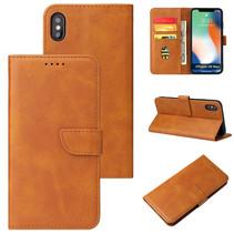 iPhone Xs Max hoesje - Wallet Book Case - Magnetische sluiting - Ruimte voor 3 (bank)pasjes - Licht Bruin