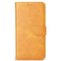 Samsung Galaxy M01 Hoesje - Wallet Book Case - Magnetische sluiting - Ruimte voor 3 (bank)pasjes - Licht Bruin