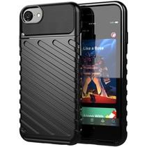 Case2go - Hoesje geschikt voor iPhone SE (2020) - Schokbestendige TPU Back Cover - Zwart