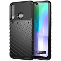 Case2go - Hoesje geschikt voor Huawei Y6p - Schokbestendige TPU Back Cover - Zwart