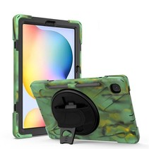 Samsung Galaxy Tab S6 Lite Cover - Hand Strap Armor Case Met Pencil Houder - Camouflage