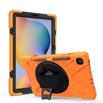 Samsung Galaxy Tab S6 Lite Cover - Hand Strap Armor Case Met Pencil Houder - Oranje