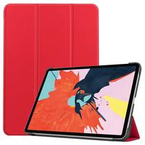 iPad Air 10.9 (2020) hoes - Tri-Fold Book Case - Magneetsluiting - Sleep/Wake functie - Rood