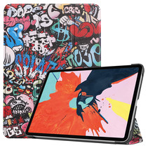 iPad Air 10.9 (2020) hoes - Tri-Fold Book Case - Magneetsluiting - Sleep/Wake functie - Graffiti