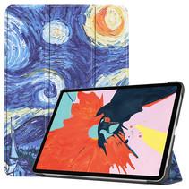 iPad Air 2020 hoes - 10.9 Inch - Tri fold Book Case - Sterrenhemel