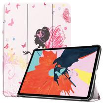 iPad Air 2020 hoes - 10.9 Inch - Tri fold Book Case - Flower Fairy