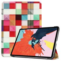 iPad Air 10.9 (2020) hoes - Tri-Fold Book Case - Magneetsluiting - Sleep/Wake functie - Blocks