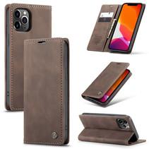 CaseMe - iPhone 12 Pro hoesje - Wallet Book Case - Magneetsluiting - Donker Bruin