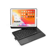 iPad 10.2 2019 / 2020 case - QWERTY - Bluetooth Toetsenbord hoes - met Touchpad & Toetsenbord verlichting - 360 graden draaibaar - Zwart