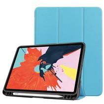 iPad Air 2020 hoes - 10.9 inch - Tri-Fold Book Case met Apple Pencil Houder - Licht Blauw